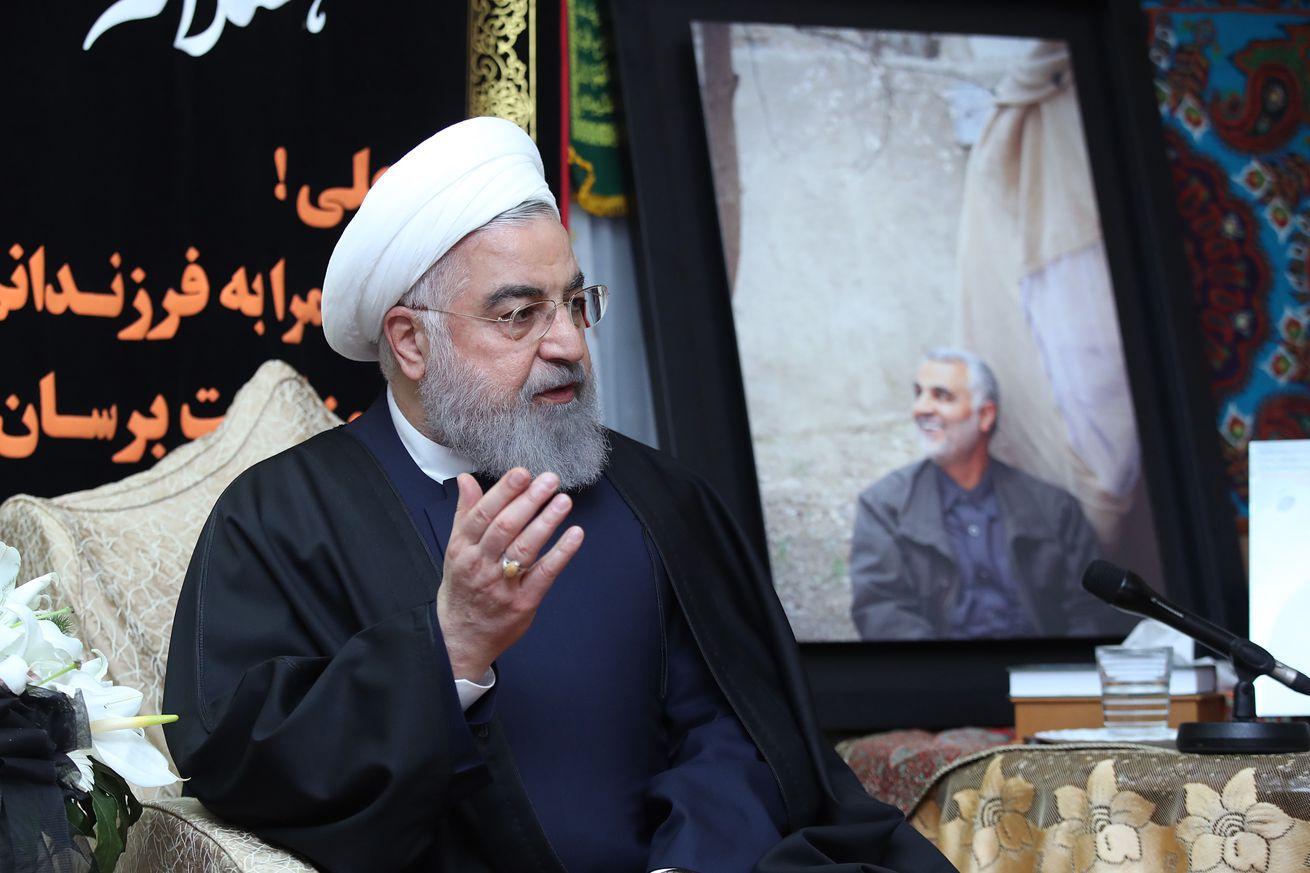 Iranian President Rouhani visits Qasem Soleimani's home