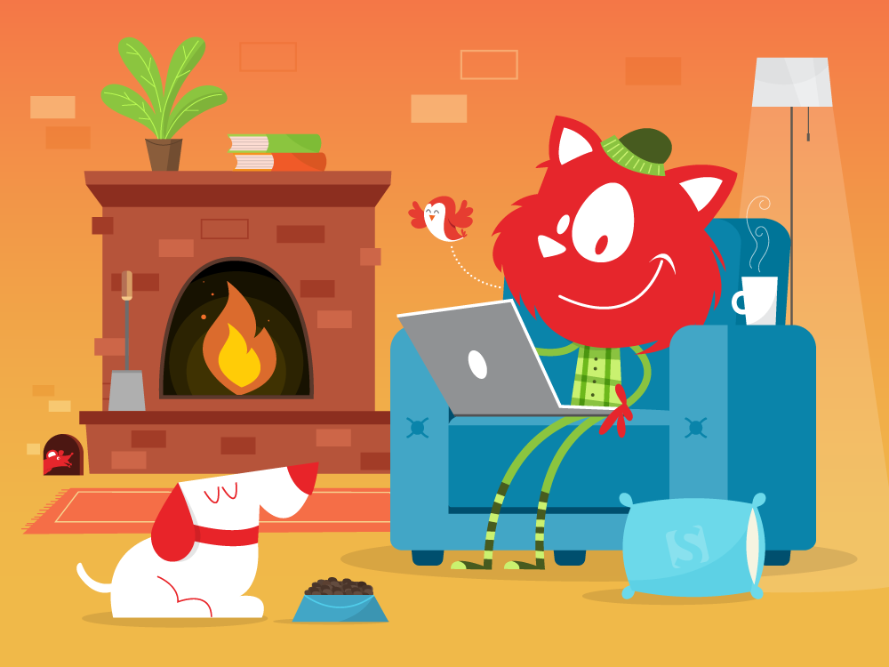 A Smashing Cat sitting comfortable in  a chair near a fireplace, with a cup of coffee, a dog nearby and a mouse in the back.