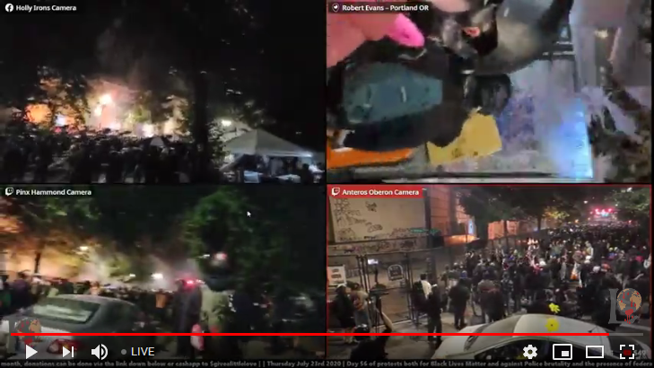 Live streaming of the protesting and riot in Portland.