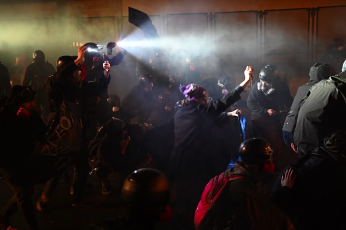 Left-wing protesters at a New Years Eve demonstration in Portland.