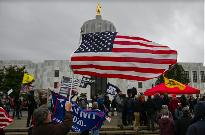 Right-wing protesters gathered in front of the Oregon Capitol on January 1.
