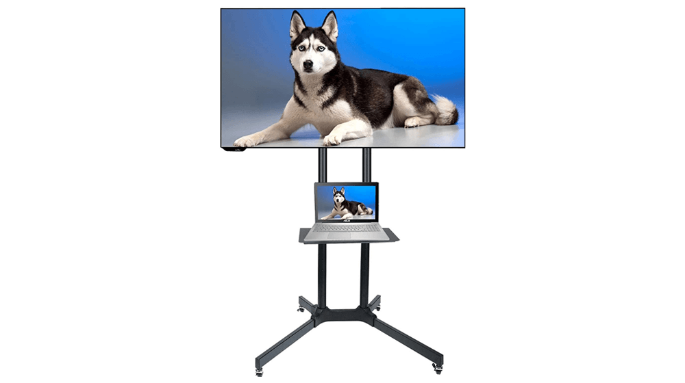 Husky Mount Mobile TV Stand with Wheels Heavy Duty Universal Rolling TV Cart