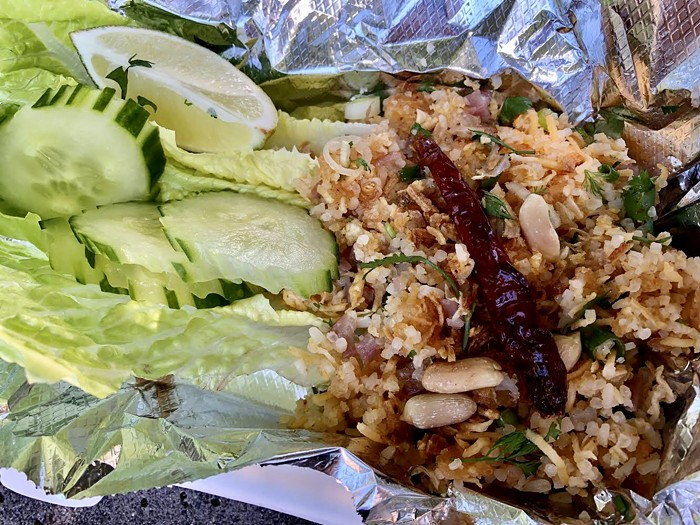 WeLa Lao's nam khao (crispy rice salad) comes in two sizes—the small is pictured here