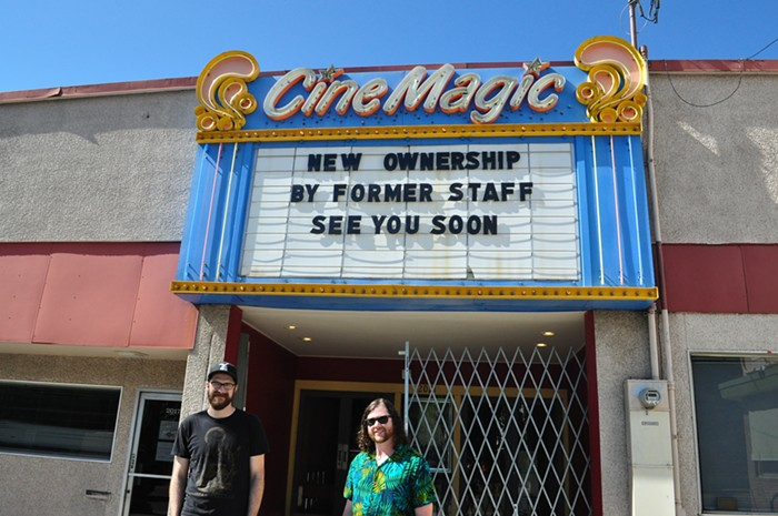 Nicholas Kuechler and Ryan Frakes are Cinemagics new owners. The theater will reopen permanently on July 29.