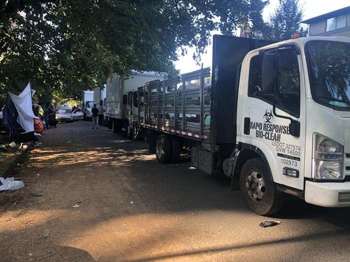 A Rapid Response Bio-Clean truck parked near a Southeast Portland homeless encampment.