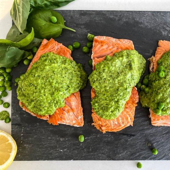 Pan Seared Salmon & Pea Basil Pesto