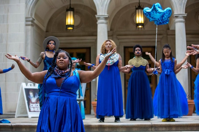 Experience vanessa german's THE BLUE WALK as part of the Time-Based Art Festival (TBA).